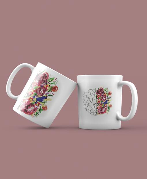 """Κούπα Αγίου Βαλεντίνου by VK """"Brain & flowers"""""""